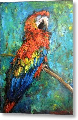 Metal Print featuring the painting Red Parot by Jieming Wang