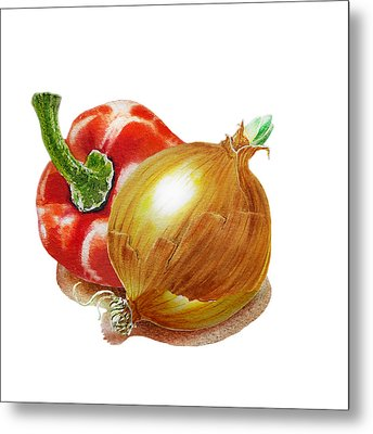 Red Pepper And Yellow Onion Metal Print