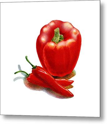 Red Pepper Hot Peppers Metal Print by Irina Sztukowski