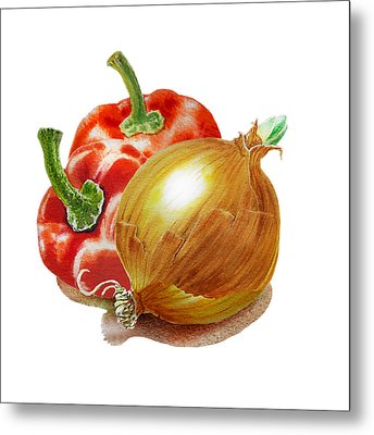 Red Peppers And Onion Metal Print by Irina Sztukowski
