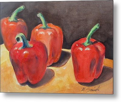 Red Peppers Metal Print by Melinda Saminski