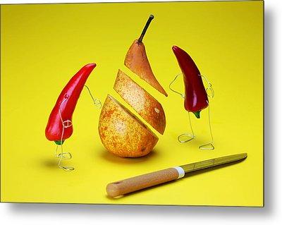 Red Peppers Sliced A Pear Metal Print by Paul Ge