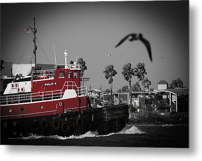 Red Pop Tugboat Metal Print
