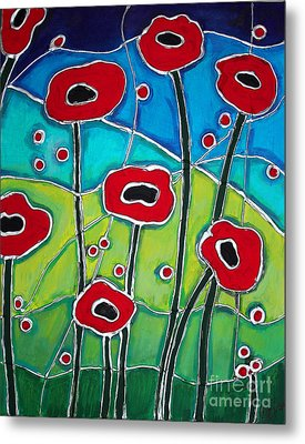 Red Poppies 1 Metal Print by Cynthia Snyder