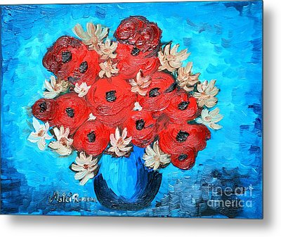 Red Poppies And White Daisies Metal Print by Ramona Matei