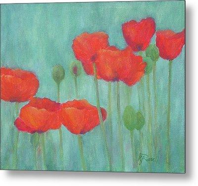 Red Poppies Colorful Poppy Flowers Original Art Floral Garden  Metal Print