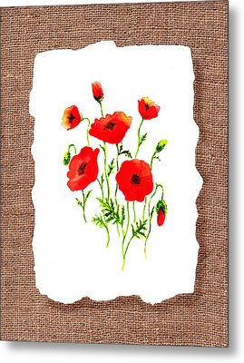 Red Poppies Decorative Collage Metal Print