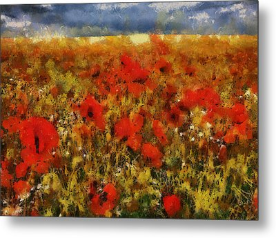 Metal Print featuring the painting Red Poppies by Georgi Dimitrov