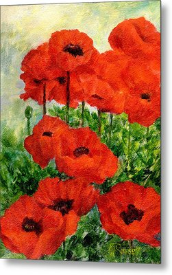 Red  Poppies In Shade Colorful Flowers Garden Art Metal Print