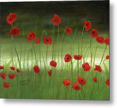 Red Poppies In The Woods Metal Print