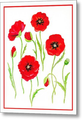 Red Poppies Metal Print by Irina Sztukowski