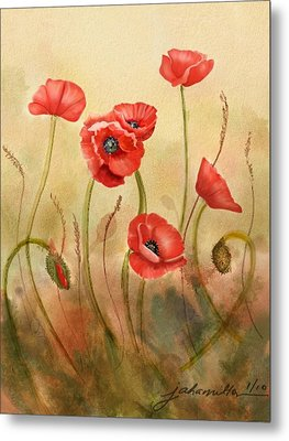 Red Poppies On Cream Metal Print