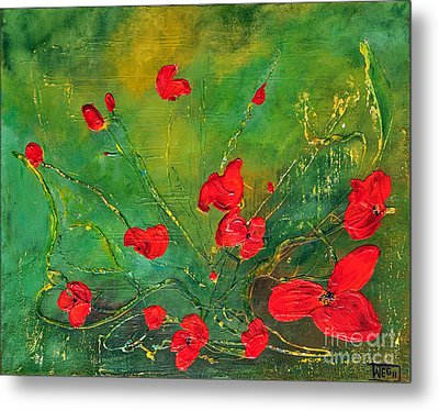 Metal Print featuring the painting Red Poppies by Teresa Wegrzyn