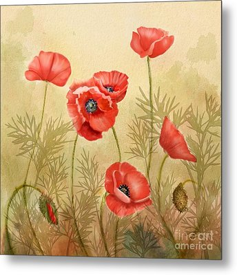 Red Poppies Three Metal Print