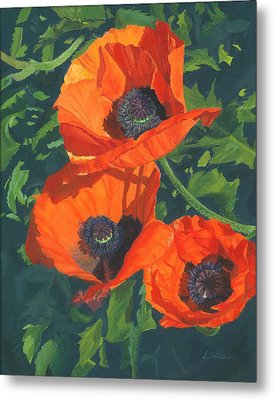 Metal Print featuring the painting Red Poppies Three by Lynne Reichhart