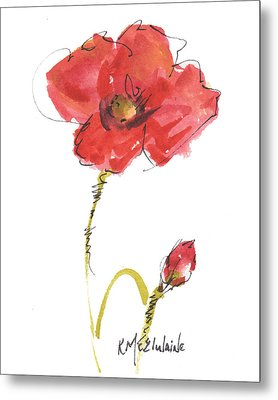 Red Poppy And Bud Metal Print