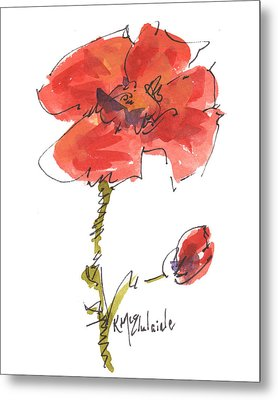Red Poppy And Pal Metal Print by Kathleen McElwaine