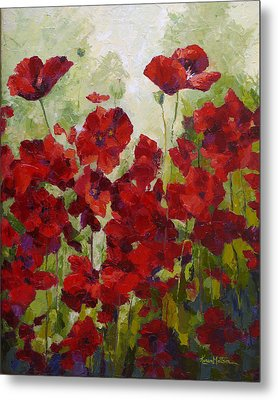 Red Poppy Field Metal Print by Karen Mattson