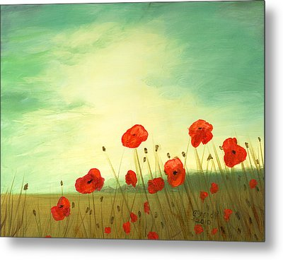 Red Poppy Field With Green Sky Metal Print