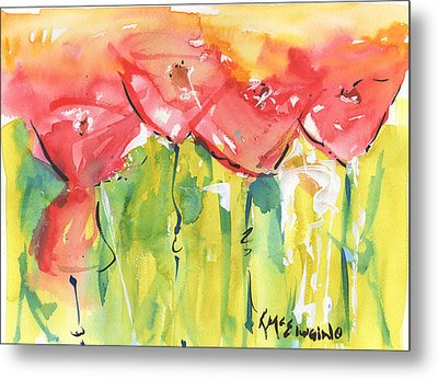 Red Poppy Party Metal Print by Kathleen McElwaine
