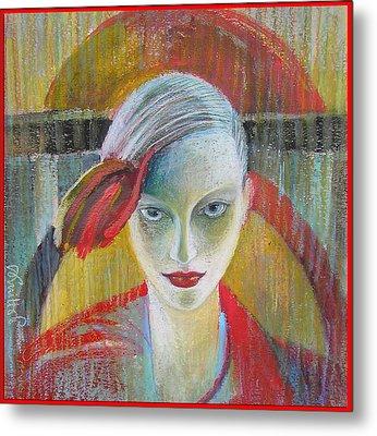 Red Portrait Metal Print