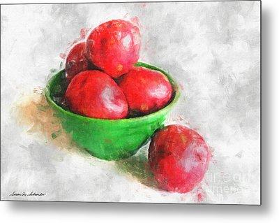 Red Potatoes In A Green Bowl Metal Print