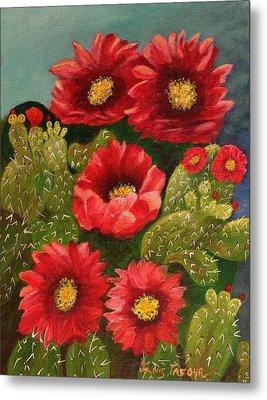 Red Prickley Pear Cactus Flower Metal Print by Janis  Tafoya