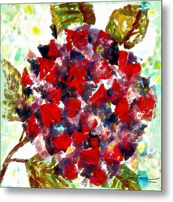 Metal Print featuring the painting Red Purple Flower by Joan Reese