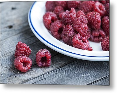 Red Raspberries Metal Print