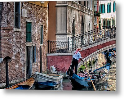 Red Ribbon Gondolier Metal Print