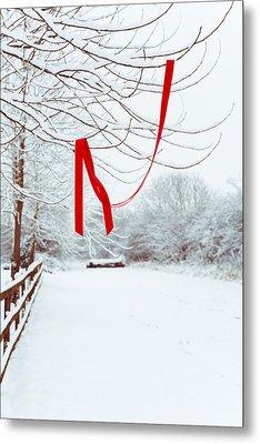 Red Ribbon In Tree Metal Print by Amanda Elwell