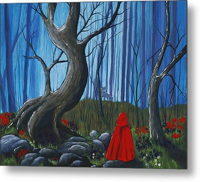 Red Riding Hood In The Forest Metal Print