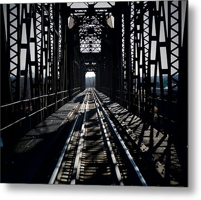 Metal Print featuring the photograph Red River Rail Road Crossing by Diana Mary Sharpton