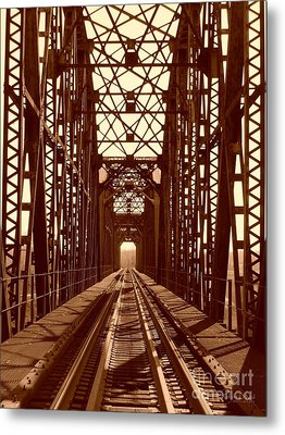 Metal Print featuring the photograph Red River Train Bridge #1 by Robert ONeil
