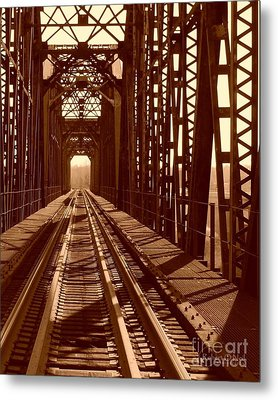 Metal Print featuring the photograph Red River Train Bridge #2 by Robert ONeil
