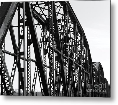 Metal Print featuring the photograph Red River Train Bridge #4 by Robert ONeil