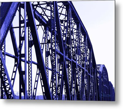 Metal Print featuring the photograph Red River Train Bridge #5 by Robert ONeil