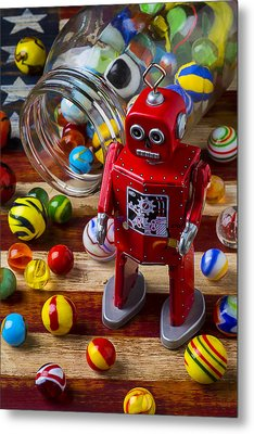 Red Robot And Marbles Metal Print by Garry Gay