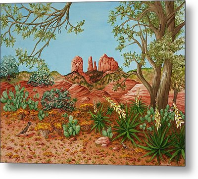 Metal Print featuring the painting Landscapes Desert Red Rocks Of Sedona Arizona by Katherine Young-Beck