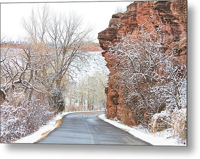 Red Rocks Winter Landscape Drive Metal Print by James BO  Insogna