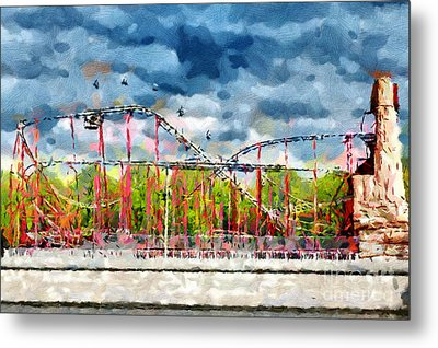 Red Roller Coaster Painting Metal Print by Magomed Magomedagaev