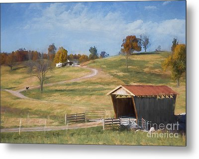 Red Roof Covered Bridge Metal Print by Elena Nosyreva