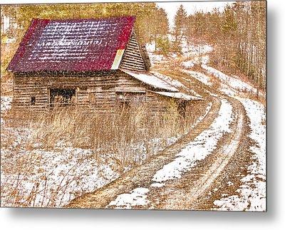 Red Roof In The Snow  Metal Print by Debra and Dave Vanderlaan