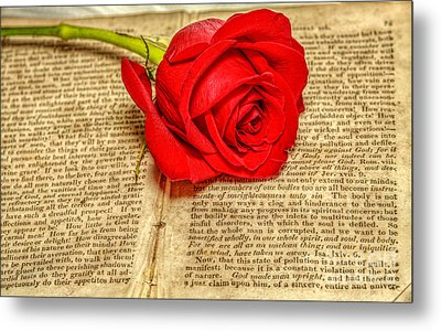 Red Rose And Old Book Still Life Two Metal Print by Randy Steele