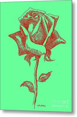 Red Rose Drawings 8 Metal Print by Gordon Punt