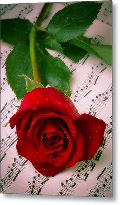 Red Rose On Sheet Music Metal Print by Garry Gay