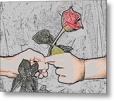 Red Rose Sketch By Jan Marvin Studios Metal Print