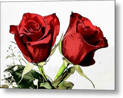 Red Roses 3 Metal Print by Rose Wang