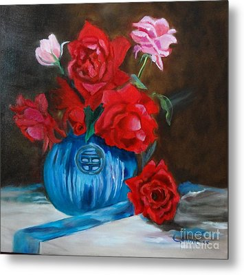 Metal Print featuring the painting Red Roses And Blue Vase by Jenny Lee