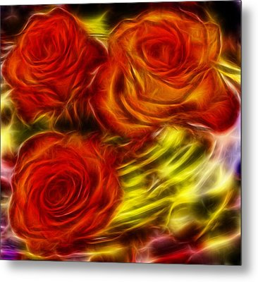 Metal Print featuring the painting Red Roses In Water - Fractal  by Lilia D